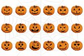 Vector Illustration Set From Pumpkins For Celebrating Holiday Halloween. Halloween Pattern Consistin poster