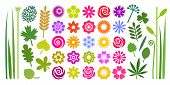 Set Of Colorful Summer Flowers, Leaves And Stems In Imple Cartoon Flat Style. poster