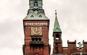Clock Tower Of Historical Copenhagen City Hall, Built In 1905 In Denmark. Architecture In The Nation poster