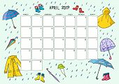 Cute Calendar And Planner For April 2019. Blue Background With Colorful Illustrations Of Rain Clothe poster