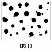Splatter Set. Black Splatters Isolated On White. Vector Illustra poster