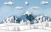 Paper Art, Craft Style Of Landscape Countryside Village At Snow Valley In Winter Season, Merry Chris poster