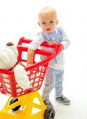 Happy Childhood And Care. Shopping For Children. Little Boy Child In Toy Shop. Little Boy Go Shoppin poster