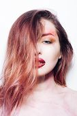 Makeup Cosmetics And Skincare. Beauty Salon And Hairdresser. Sexy Woman With Fashion Makeup. Sexy Gi poster