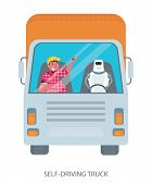Self-driving Truck, Vector Illustration, Autonomous Truck Drived By Robot poster