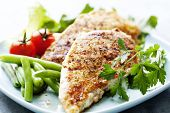 closeup of juicy grilled chicken fillet