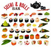Sushi And Rolls Of Japanese Seafood With Sauce And Chopsticks. Vector Roll, Uramaki And Inari, Nigir poster