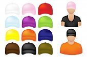 People Icons With Set Of Colorful Baseball Caps, Isolated On White