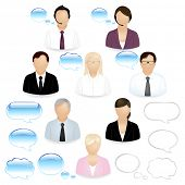 stock photo of people icon  - 8 Vector Business People Icons With Dialog Bubbles - JPG