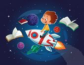 Happy Boy Playing And Imagine Himself In Space Driving An Toy Space Rocket. Books, Planets, Rocket A poster