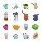 Coffee Cup Vector Teacup Icon Isometric Coffeecup And Mug Espresso Beverages In Coffeeshop Illustrat poster