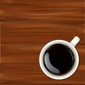 White Cup With Coffee, On Wooden Surface, Vector Illustration