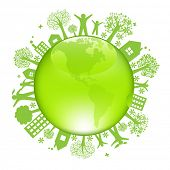 Earth Day Concept, Isolated On White Background poster