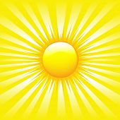 Bright Sunburst With Beams, Vector Illustration