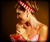 Martini glass flirt. Pin up girl drink bloody Mary cocktail. Pin-up retro female style on gradation  poster