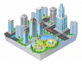 3d Isometric City, Downtown With Modern Residential Buildings, Skyscrapers, Roads, Park. Cityscape,  poster