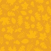 Subtle Autumn Background. Fall Leaves Seamless Vector Pattern. Yellow Leaf Silhouettes On Orange. Mu poster