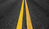 Yellow Double Dividing Lines Perspective View, Highway Road Marking On Dark Asphalt poster