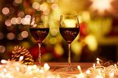 Christmas still life with with glasses of red wine - cosy winter time. poster