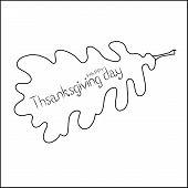 Banner Lettering Banner Lettering Happy Thanksgiving Day On Oak Leaf, Monochrome Graphic Sketch Desi poster
