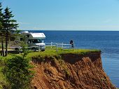 stock photo of recreational vehicles  - RV vehicle and Traveller on Prince Edward Island Canada - JPG