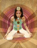 Постер, плакат: Винтажные чакры девочка размышление с 7 чакр в документе сепия