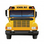 Illustration of yellow school bus isolated over white