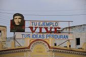 CIENFUEGOS, CUBA - OCT 26, 2008.Communist propaganda with Che Guevara image, one of the icons of the