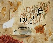 Abstract sepia background with coffee cup and letters coming out as smoke.