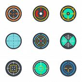 Army Target Icon Set. Flat Set Of 9 Army Target Vector Icons For Web Design poster
