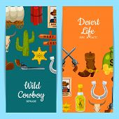Vecto Colored Cartoon Wild West Elements Web Banner Or Poster Templates Illustration poster