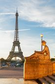 View Of Eiffel Tower From Trocadero Garden In Sunrise Light, Paris, France poster
