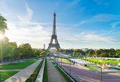 Eiffel Tower Famous Landmark From Trocadero At Sunrise, Paris, France poster