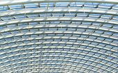 image of purlin  - Curved reinforced steel roof joists in a conservatory roof - JPG