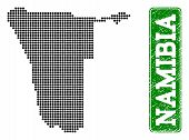 Dotted Map Of Namibia And Unclean Caption. Vector Green Title Inside Rounded Rectangle And Unclean R poster