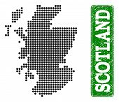 Dotted Map Of Scotland And Rubber Caption. Vector Green Title Inside Rounded Rectangle And Scratched poster