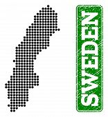 Dotted Map Of Sweden And Corroded Caption. Vector Green Title Inside Rounded Rectangle And Corroded  poster