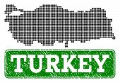 Dotted Map Of Turkey And Rubber Caption. Vector Green Title Inside Rounded Rectangle And Grunge Rubb poster