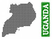 Dotted Map Of Uganda And Rubber Caption. Vector Green Title Inside Rounded Rectangle And Grunge Rubb poster