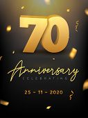 70 Years Anniversary Celebration Event. Golden Vector Birthday Or Wedding Party Congratulation Anniv poster