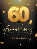 60 Years Anniversary Celebration Event. Golden Vector Birthday Or Wedding Party Congratulation Anniv poster