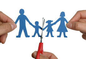 pic of divorce-papers  - Man and womans hands cutting paper chain family concept for divorce and child custody battle - JPG
