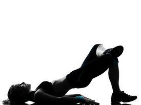 stock photo of body builder  - one woman exercising workout fitness aerobic exercise posture on studio isolated white background - JPG