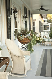 stock photo of front door  - front porch entrance decorated for christmas - JPG