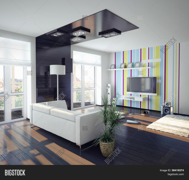 Moderne concept van woonkamer design (afbeelding) stock foto ...