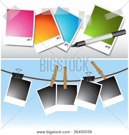An image of a set of blank photos hanging on clothesline and taped.