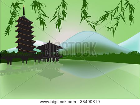 illustration with pagoda and reflection in pond