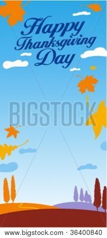 Illustration for happy thanksgiving day celebration with place for text.