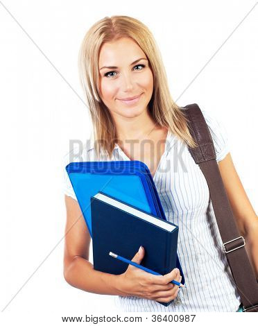 Happy female, young pretty teen student, girl holding books,  portrait of smart cute schoolgirl, beautiful young woman with textbooks and laptop bag isolated on white background, education concept