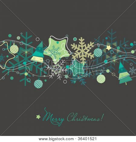 Christmas card with Xmas tree,snowflakes and decorations